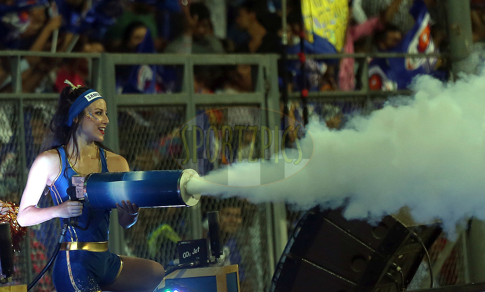 Cheer Girls  of Mumbai Indians during match 7 of the Vivo 2017 Indian Premier League between the Mumbai Indians and the Kolkata Knight Riders held at the Wankhede Stadium in Mumbai, India on the 9th April 2017<br /> <br /> Photo by Sandeep Shetty - IPL - Sportzpics