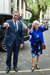 © Licensed to London News Pictures. 24/04/2019. LONDON, UK.  Nigel Farage and Ann Widdecombe, former Conservative MP, attend a photocall for the Brexit Party at Smith Square, Westminster.  Ann Widdecombe has announced that, while she will vote Conservative in local elections, she will stand as a candidate for Nigel Farage's Brexit party in the upcoming European elections on 23 May 2019. Photo credit: Stephen Chung/LNP