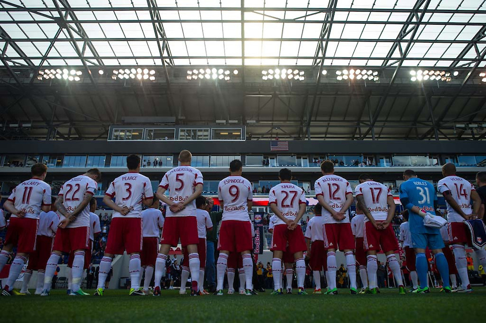 HARRISON, NJ - MAY 26: Members of the New York Red Bulls stand for the National Anthem before the game against the Columbus Crew at Red Bulls Arena on May 26, 2013. (Photo By: Rob Tringali)