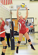 Rancocas Valley's #16 Lauryn Bayley volleys against Lenape during a volleyball match Saturday October 10, 2015 at Moorestown High School in Moorestown, New Jersey. (Photo by William Thomas Cain)