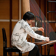 "February 18, 2012 - New York, NY : .Fuyuhiko Sasaki, on kugo, performs Maki Ishii's 'Chronology 1200' (1994) during ""Resonances of the Kugo,"" part of the 2012 New York Music From Japan Festival, at Merkin Concert Hall on Saturday. .CREDIT: Karsten Moran for The New York Times"