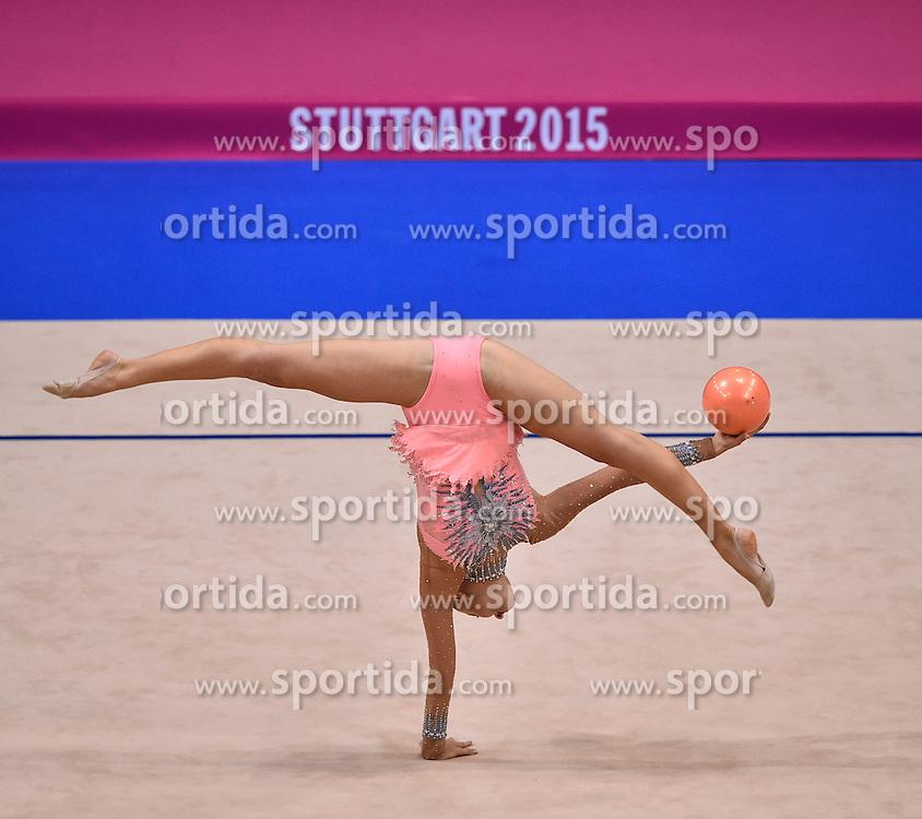 08.09.2015, Porsche Arena, Stuttgart, GER, Gymnastik WM, im Bild Melitina Staniouta (BLR) Ball // during the World Rhythmic Gymnastics Championships at the Porsche Arena in Stuttgart, Germany on 2015/09/08. EXPA Pictures &copy; 2015, PhotoCredit: EXPA/ Eibner-Pressefoto/ Weber<br /> <br /> *****ATTENTION - OUT of GER*****