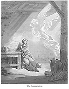The Annunciation [Luke 1:26-28] From the book 'Bible Gallery' Illustrated by Gustave Dore with Memoir of Dore and Descriptive Letter-press by Talbot W. Chambers D.D. Published by Cassell & Company Limited in London and simultaneously by Mame in Tours, France in 1866