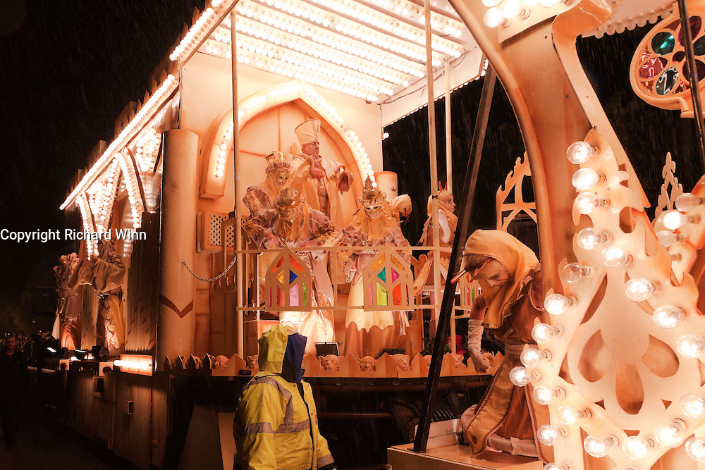 View of the rear portion of the Gargoyles cart, by British Flag CC at Bridgwater Guy Fawkes Carnival.