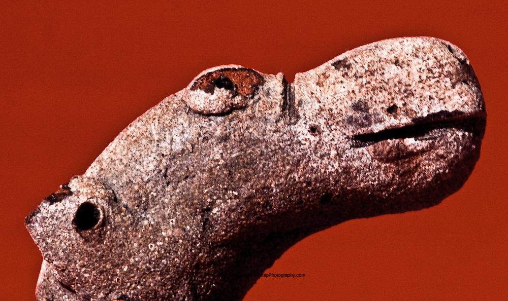 Male camel head, pottery 5 cm long. Thaj, Saudi Arabia