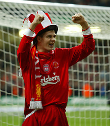 CARDIFF, WALES - Sunday, March 2, 2003: Liverpool's Steven Gerrard celebrates victory over Manchester United during the Football League Cup Final at the Millennium Stadium. (Pic by David Rawcliffe/Propaganda)