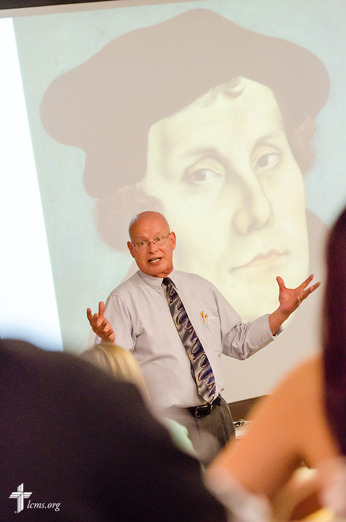 John Bahr, director of the Concordia Distinctive and associate professor of English, discusses Martin Luther during an orientation class for students at Concordia College New York on Saturday, July 19, 2014, in Bronxville, NY. LCMS Communications/Erik M. Lunsford