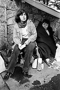 Women members of the National H-Block Committee who stayed outside the British Embassy, Dublin, through the night of Saturday 18 July, led by Bernadette McAliskey (left), and who were allowed to deliver their letter to the British Ambassador on Sunday morning, pictured in the make-shift tent that they erected outside the RDS, Ballsbridge.<br /> 18 July 1981