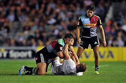 Nick Easter of Harlequins tussles with George Kruis of Saracens off the ball - Photo mandatory by-line: Patrick Khachfe/JMP - Mobile: 07966 386802 12/09/2014 - SPORT - RUGBY UNION - London - Twickenham Stoop - Harlequins v Saracens - Aviva Premiership