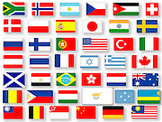 collage of 42 different National flags