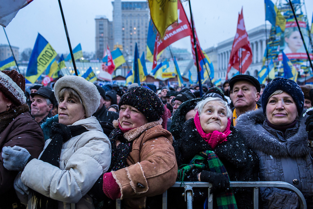 KIEV, UKRAINE - DECEMBER 7: Anti-government protesters rally on Independence Square on December 7, 2013 in Kiev, Ukraine. Thousands of people have been protesting against the government since a decision by Ukrainian president Viktor Yanukovych to suspend a trade and partnership agreement with the European Union in favor of incentives from Russia. (Photo by Brendan Hoffman/Getty Images) *** Local Caption ***