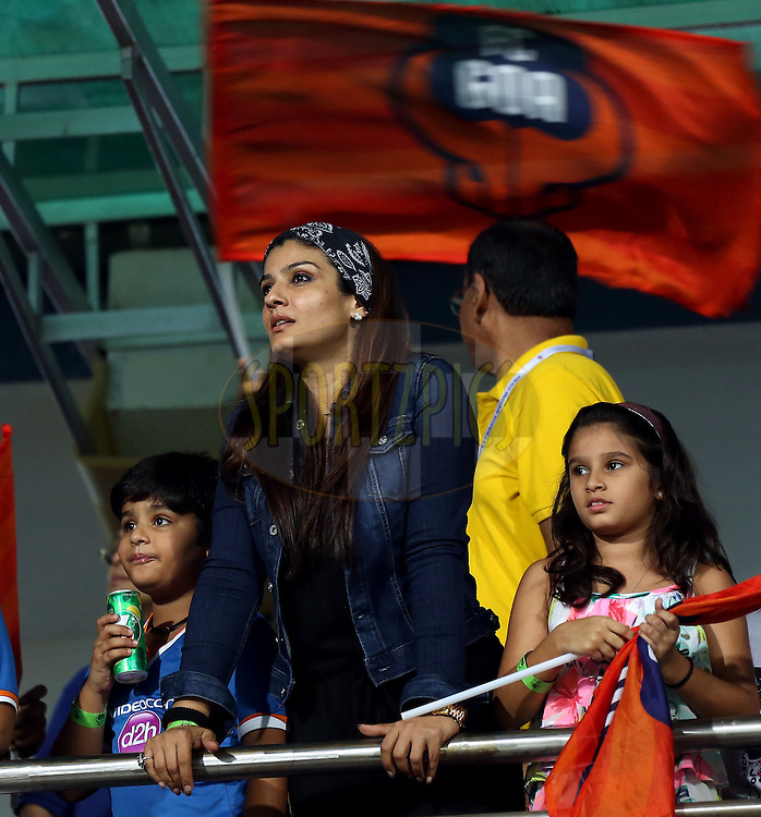 Actor Raveena Tandon during match 38 of the Hero Indian Super League between FC Goa and FC Pune City held at the Jawaharlal Nehru Stadium, Fatorda, India on the 22nd November 2014.<br /> <br /> Photo by:  Sandeep Shetty/ ISL/ SPORTZPICS