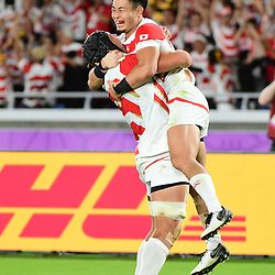 Joy for Kenki FUKUOKA of Japan as he scores a try during the Rugby World Cup match between Japan and Scotland at International Stadium Yokohama on October 13, 2019 in Yokohama, Japan. (Photo by Dave Winter/Icon Sport) - Kenki FUKUOKA - International Stadium Yokohama - Yokohama (Japon)