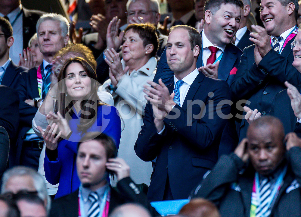 Kate Middleton has joined Prince William and Harry during the Rugby World Cup 2015 Pool A match between England and Fiji played at Twickenham Stadium, London on 18 September 2015. Photo by Liam McAvoy.