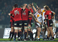 The Crusaders forward pack celebrate winning a scrum penalty. Super 15 rugby union match - Crusaders v Chiefs at McLean Park, Napier, New Zealand on Saturday, 21 May 2011. Photo: Dave Lintott / photosport.co.nz