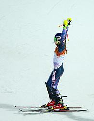21.02.2014, Rosa Khutor Alpine Resort, Krasnaya Polyana, RUS, Sochi, 2014, Slalom, Damen, 2. Durchgang, im Bild Olympiasiegerin Mikaela Shiffrin (USA) // olympic Champion Mikaela Shiffrin of the USA in action during the 2nd run of ladies Slalom to the Olympic Winter Games Sochi 2014 at the Rosa Khutor Alpine Resort, Krasnaya Polyana, Russia on 2014/02/21. EXPA Pictures © 2014, PhotoCredit: EXPA/ Johann Groder