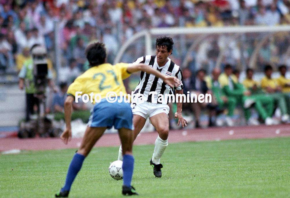 FIFA World Cup - Italia 1990<br /> Stadio Delle Alpi, Turin, Italy.<br /> 16.6.1990, Brazil v Costa Rica<br /> Roger Flores - Costa Rica