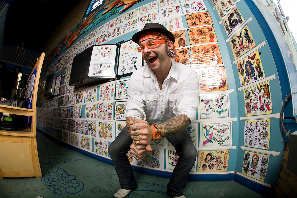 Scotty Body Wotty, host of the high definition HD travel series, Ink-Trotting, poses for publicity photos at the world famous True Blue Tattoo in Austin, Texas. Photo by Scott Iskowitz/Scott Audette Inc.