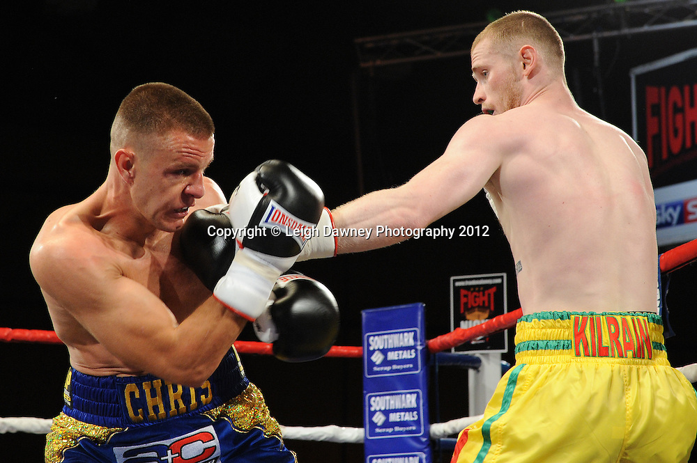 Chris Jenkinson defeats Jimmy Kelly in a 4x3 min Light Middleweight contest at the Bowlers Exhibition Centre, Manchester on the 2nd June 2012. Frank Maloney Promotions © Leigh Dawney Photography 2012.Jimmy Kelly (yellow shorts) defeats Chris Jenkinson in a 4x3 min Light Middleweight contest at the Bowlers Exhibition Centre, Manchester on the 2nd June 2012. Frank Maloney Promotions © Leigh Dawney Photography 2012.
