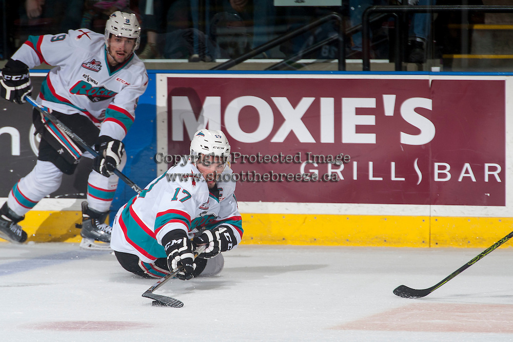 KELOWNA, CANADA - APRIL 22: Rodney Southam #17 of Kelowna Rockets digs for the puck against the Seattle Thunderbirds on April 22, 2016 at Prospera Place in Kelowna, British Columbia, Canada.  (Photo by Marissa Baecker/Shoot the Breeze)  *** Local Caption *** Rodney Southam;