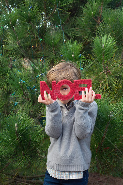 little boy holding the word Noel over his face on Christmas