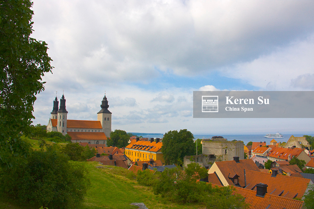 St Maria's Church overlooking the ocean, Visby, Gotland Island, Sweden