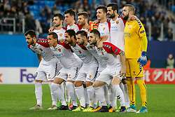 November 23, 2017 - Saint Petersburg, Russia - FK Vardar players pose before the UEFA Europa League Group L match between FC Zenit St. Petersburg and FK Vardar at Saint Petersburg Stadium on November 23, 2017 in Saint Petersburg, Russia. (Credit Image: © Mike Kireev/NurPhoto via ZUMA Press)