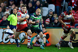 Gloucester Winger (#11) Shane Monahan breaks before going on to score his second try during the first half of the match - Photo mandatory by-line: Rogan Thomson/JMP - Tel: Mobile: 07966 386802 15/12/2012 - SPORT - RUGBY - Kingsholm Stadium - Gloucester. Gloucester Rugby v London Irish - Amlin Challenge Cup Round 4.