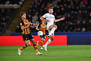Hull City player Chris Martin (29) and Leeds United midfielder Kalvin Phillips (23)  during the EFL Sky Bet Championship match between Hull City and Leeds United at the KCOM Stadium, Kingston upon Hull, England on 2 October 2018.Photo. Ian Lyall