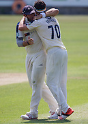 Jack Brooks (Yorkshire CCC) ic congratulated by his captain Tim T Bresnan after taking the wicket of Jamie Harrison (Durham County Cricket Club) during the LV County Championship Div 1 match between Durham County Cricket Club and Yorkshire County Cricket Club at the Emirates Durham ICG Ground, Chester-le-Street, United Kingdom on 1 July 2015. Photo by George Ledger.