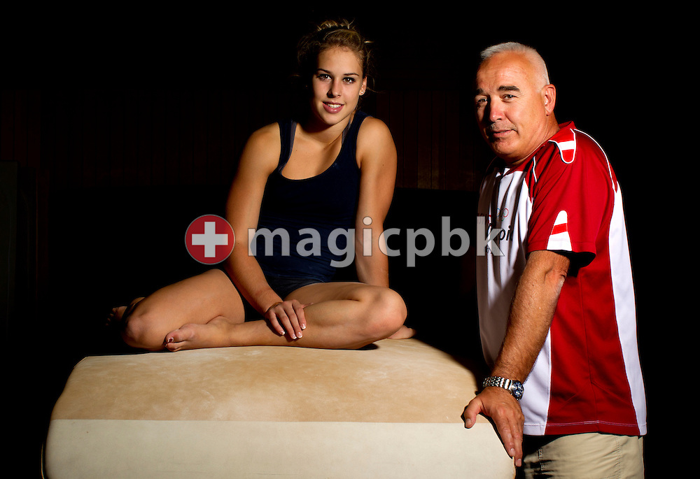Artistic gymnastics athlete Giulia STEINGRUBER (L) of Switzerland and national head coach Zoltan JORDANOV are pictured during a portrait session in a gym at the Federal College of Sports Magglingen in Magglingen in the canton of Berne, Switzerland, Monday, Aug. 29, 2011. (Photo by Patrick B. Kraemer / MAGICPBK)
