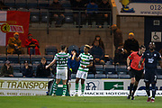 31st October 2018, Kilmac Stadium, Dundee, Scotland; Ladbrokes Premiership football, Dundee v Celtic; Scott Sinclair of Celtic is congratulated after scoring for 2-0 by Kieran Tierney in the 34th minute