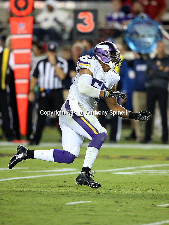 Minnesota Vikings outside linebacker Anthony Barr (55) chases the action during the 2015 NFL week 1 regular season football game against the San Francisco 49ers on Monday, Sept. 14, 2015 in Santa Clara, Calif. The 49ers won the game 20-3. (©Paul Anthony Spinelli)