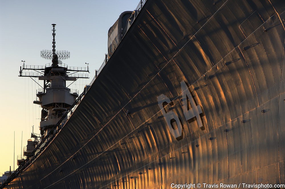 The battleship USS Wisconsin in downtown Norfolk, Virginia.