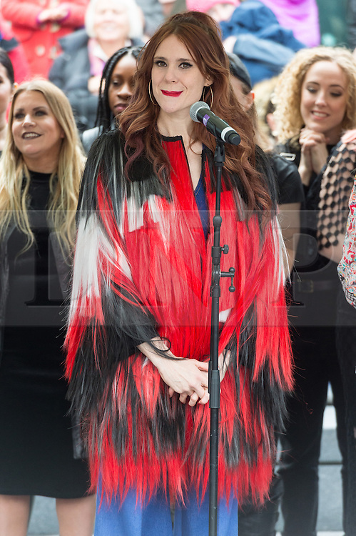 © Licensed to London News Pictures. 05/03/2017. KATE NASH takes part in a rally raising awareness of women and girls in third world countries who spend days walking for water. March also marks CARE's annual celebration for International Women's Day. London, UK. Photo credit: Ray Tang/LNP