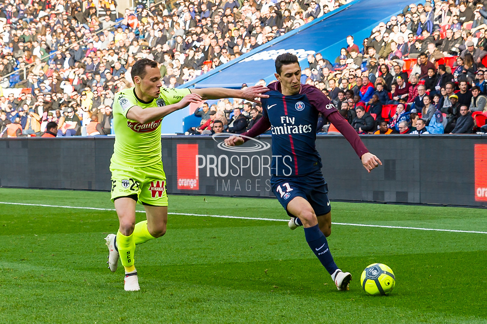 Angel di Maria (psg) and Vincent Manceau (ang) during the French Championship Ligue 1 football match between Paris Saint-Germain and SCO Angers on march 14, 2018 at Parc des Princes stadium in Paris, France - Photo Pierre Charlier / ProSportsImages / DPPI