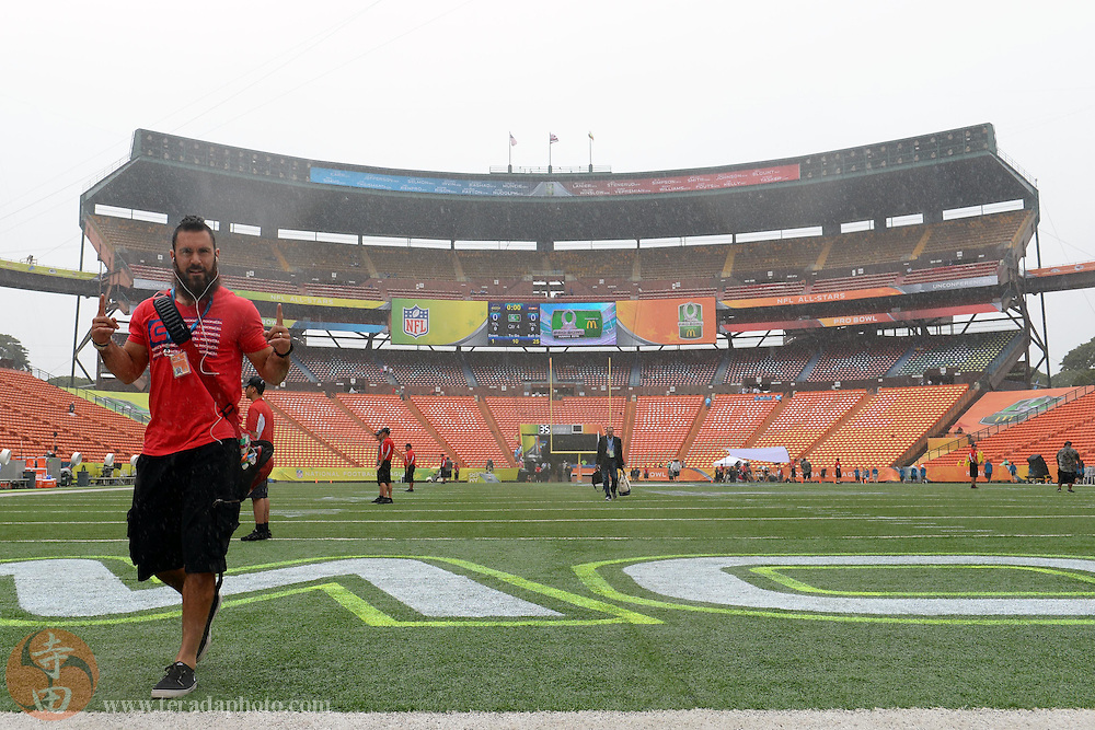 January 26, 2014; Honolulu, HI, USA; Team Sanders safety Eric Weddle of the San Diego Chargers (32) walks to the locker rooms before the 2014 Pro Bowl against Team Rice at Aloha Stadium.