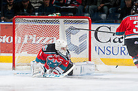 KELOWNA, CANADA - MARCH 18: Jackson Whistle #1 of Kelowna Rockets makes a save against the Seattle Thunderbirds on March 18, 2015 at Prospera Place in Kelowna, British Columbia, Canada.  (Photo by Marissa Baecker/Shoot the Breeze)  *** Local Caption *** Jackson Whistle;