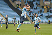 Coventry City Striker Adam Armstrong celebrates during the Sky Bet League 1 match between Coventry City and Bury at the Ricoh Arena, Coventry, England on 13 February 2016. Photo by Dennis Goodwin.