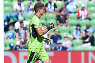 MELBOURNE, VICTORIA - JANUARY 06: Newcastle Jets goalkeeper Lewis Italiano (20) celebrates as his team score the opening goal at the Hyundai A-League Round 11 soccer match between Melbourne City FC and Newcastle Jets on at AAMI Park in NSW, Australia 06 January 2019. (Photo by Speed Media/Icon Sportswire)