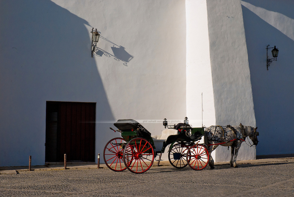 A horse-drawn carriage standing in front of white wall bull-fight-arena in Ronda. The horse is old or tired. The structure of the building and old fashioned-lanterns throw peculiar shadows and make the image very graphic and sobre. There is no human in the picture.
