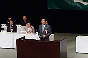 Japan's Prime Minister Shinzo Abe delivers a speech during a Northern Territories Day rally to give clarification about the situation in the Northern Territories in Japan, at the National Theater in Tokyo on February 7, 2018. 07/02/2018-Tokyo, JAPAN