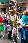 Costumed giant characters, Gigantes de Irunako Erraldoiak, in San Fermin Fiesta at Pamplona, Navarre, Northern Spain