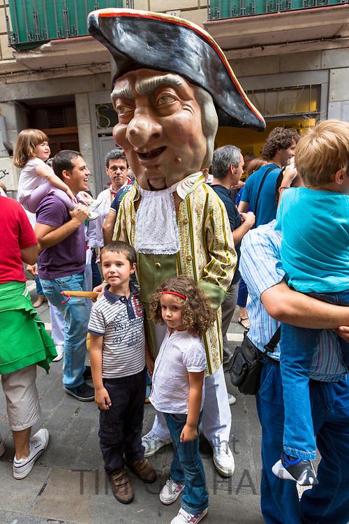 Costumed giant characters, Gigantes de Irunako Erraldoiak, in San Fermin Fiesta at Pamplona, Navarre, Northern Spain