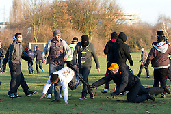 © under license to London News Pictures. 11/12/2010. Continuing their protests in towns and cities across the UK, the English Defence League protest against militant Islam in Peterborough. The Embankment park, behind the UAF protest, was the scene of scuffles, as EDL and UAF supporters clashed