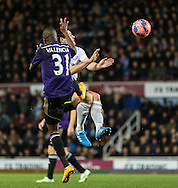 Enner Valencia of West Ham United commits a foul on Gareth Barry of Everton during the FA Cup match at the Boleyn Ground, London<br /> Picture by David Horn/Focus Images Ltd +44 7545 970036<br /> 13/01/2015