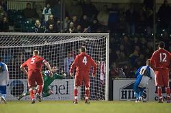 BRISTOL, ENGLAND - Thursday, January 15, 2009: Liverpool's goalkeeper Dean Bouzanis is beaten by Bristol Rovers' Eliot Richards from the penalty spot during extra-time of the FA Youth Cup match at the Memorial Stadium. (Mandatory credit: David Rawcliffe/Propaganda)