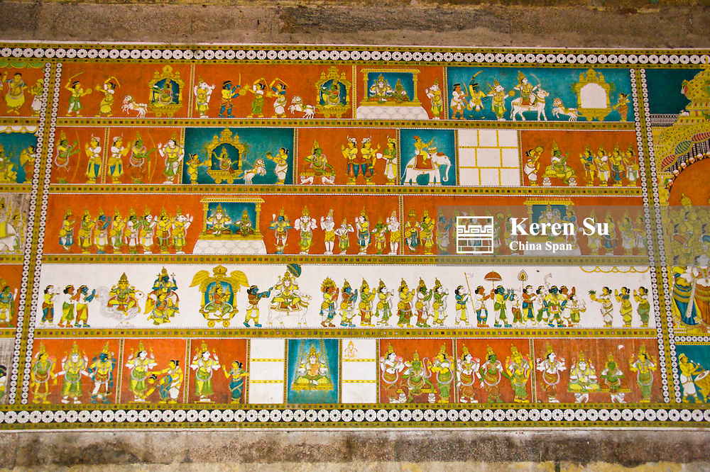 Mural at Sree Meenakshi Temple complex, Madurai, Tamil Nadu State, India
