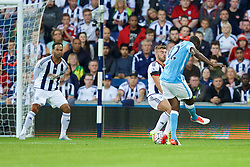 WEST BROMWICH, ENGLAND - Monday, August 10, 2015: Manchester City's Yaya Toure scores the first goal against West Bromwich Albion during the Premier League match at the Hawthorns. (Pic by David Rawcliffe/Propaganda)