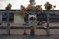 Roma, 30/03/2014: lapide sulla via Cristoforo Colombo in memoria di un incidente mortale - grave along the street in memory of a fatal car accident.